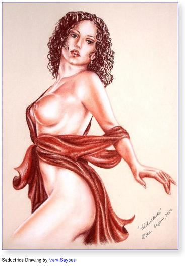 Seductrice Drawing by Vera Sayous