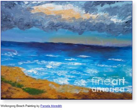 Wollongong Beach Painting by Pamela Meredith