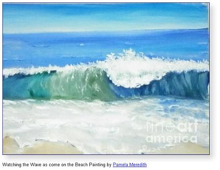 Watching the Wave as come on the Beach Painting by Pamela Meredith